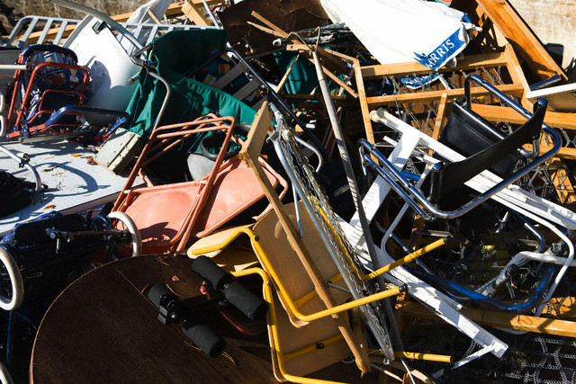 Discarded household items piled up